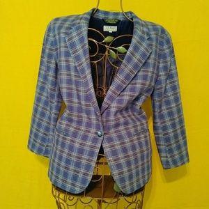 L.L. Bean Blue & Green Plaid Cotton Linen Blazer